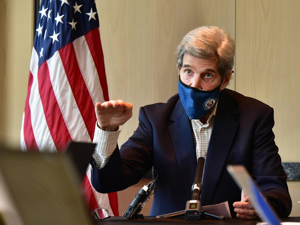 US Special Presidential Envoy for Climate John Kerry speaks during a press conference on 18 April, 2021 in Seoul, South Korea. Mr Kerry struck an agreement on climate change with his Chinese counterpart Xie Zhenhua during talks in Shanghai last week. (U.S. Embassy via Getty Images)