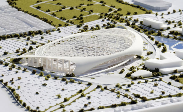 Pricy new digs: reportedly, NFL documents estimate the cost of the Los Angeles Rams new stadium and surrounding development is close to $5 billion. (AP)