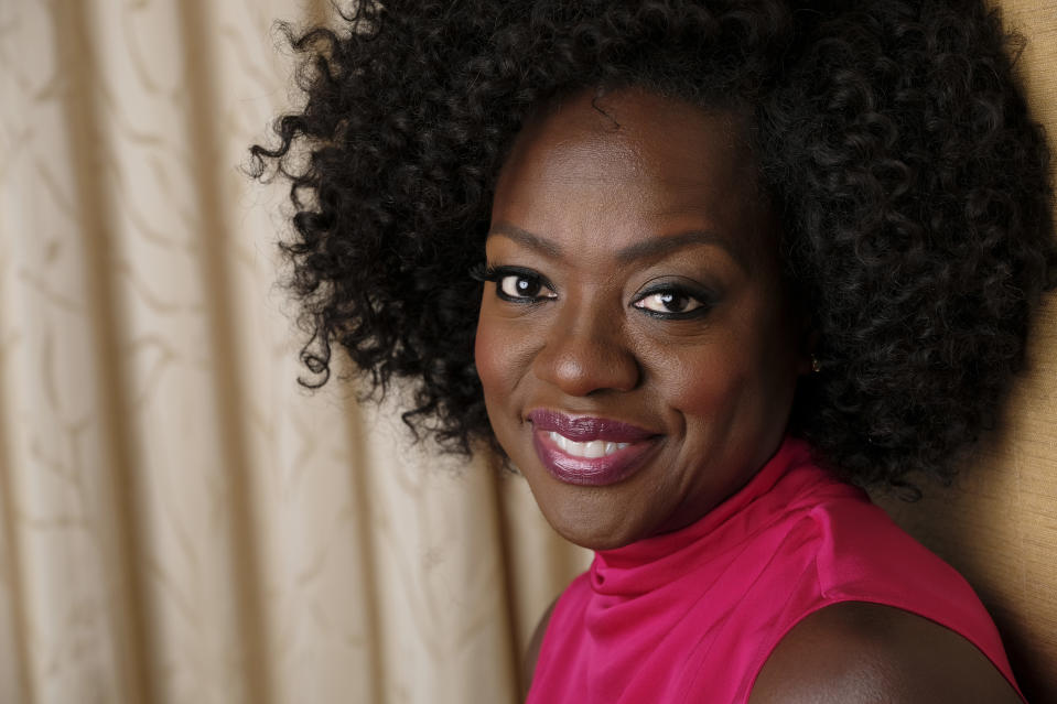 "FILE - In this Sept. 9, 2018, file photo, Viola Davis poses for a portrait at the Ritz-Carlton Hotel during the Toronto International Film Festival in Toronto. The new issue of ""Vanity Fair,"" featuring a powerful image of Oscar-winning actor Davis, marks the first time the publication has featured the work of a Black photographer on its cover. The issue hits newsstands on July 21, 2020. (Photo by Chris Pizzello/Invision/AP, File)"