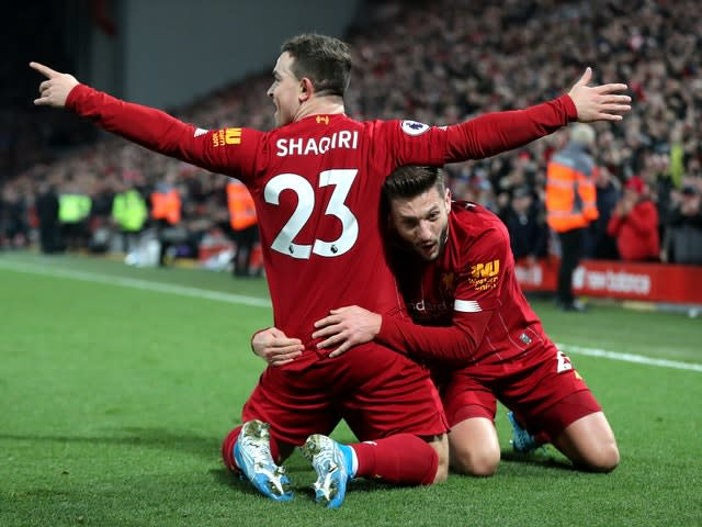 Jurgen Klopp sprung a surprise by naming Mohamed Salah, Jordan Henderson and Roberto Firmino on the bench for December's Merseyside derby as he juggled a hectic fixture list. His reshuffle had little impact as the hosts cruised to a crushing 5-2 success over their neighbours, with Xherdan Shaqiri among the goalscorers (Richard Sellers/PA)