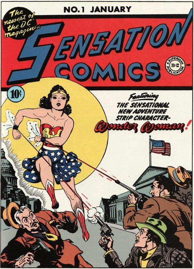 Wonder Woman on the cover of the January 1942 issue of <i>Sensation Comics.</i> (Credit: DC Comics)