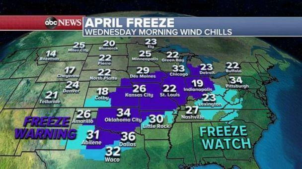 PHOTO: A record low could also be shattered Wednesday morning in Oklahoma City where the old record is 34 and current forecast temperature is in the upper 20s. (ABC News)