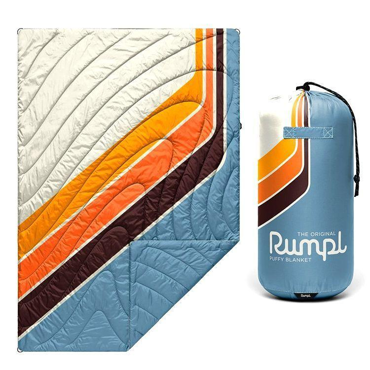 """<p><strong>Rumpl </strong></p><p>rumpl.com</p><p><strong>$99.00</strong></p><p><a href=""""https://go.redirectingat.com?id=74968X1596630&url=https%3A%2F%2Fwww.rumpl.com%2Fproducts%2Foriginal-puffy-easy-rider&sref=https%3A%2F%2Fwww.bestproducts.com%2Fhome%2Fg36431025%2Fbest-outdoor-blankets%2F"""" rel=""""nofollow noopener"""" target=""""_blank"""" data-ylk=""""slk:Shop Now"""" class=""""link rapid-noclick-resp"""">Shop Now</a></p><p><strong><strong>•</strong> Size:</strong> 75x52 inches<br><strong><strong>•</strong> Weight:</strong> 2.1 pounds</p><p>The Rumpl, a <a href=""""https://www.bestproducts.com/fitness/a27331282/rumpl-down-blanket-review/"""" rel=""""nofollow noopener"""" target=""""_blank"""" data-ylk=""""slk:longtime favorite product of ours"""" class=""""link rapid-noclick-resp"""">longtime favorite product of ours</a>, is a fantastic blanket for both picnicking and camping. Although this particular design is on the narrow side, it still provides generous room for one to spread out or for multiple people to sit together.<br></p><p>Not only does the Rumpl outdoor blanket look cool (it has <a href=""""https://go.redirectingat.com?id=74968X1596630&url=https%3A%2F%2Fwww.rumpl.com%2Fcollections%2Fthe-original-puffy-blankets&sref=https%3A%2F%2Fwww.bestproducts.com%2Fhome%2Fg36431025%2Fbest-outdoor-blankets%2F"""" rel=""""nofollow noopener"""" target=""""_blank"""" data-ylk=""""slk:a stunning selection of designs"""" class=""""link rapid-noclick-resp"""">a stunning selection of designs</a>), but it feels like a dream. It's filled with post-consumer recycled synthetic insulation and the exterior fabric is ripstop nylon treated with DWR (Durable Water Repellent), so it resists moisture and damage. Plus, if it gets dirty, just toss it in the wash.</p><p>The Rumpl is also the lightest blanket on our list at just barely over 2 pounds, and it also compresses into its included drawstring bag. </p>"""