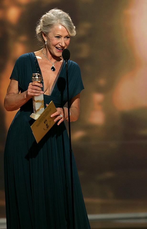 """<a href=""""/helen-mirren/contributor/31700"""">Helen Mirren</a> takes home two awards from <a href=""""/the-64th-annual-golden-globe-awards/show/40075"""">the Golden Globes</a>."""