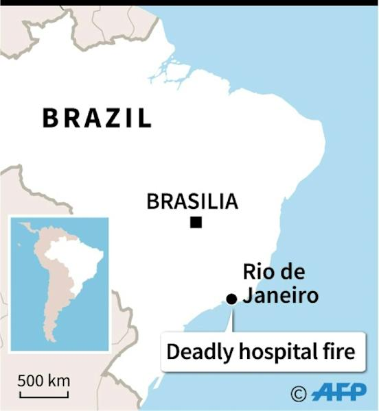 Map locating Rio de Janeiro, where at least 10 people have died in a hospital fire