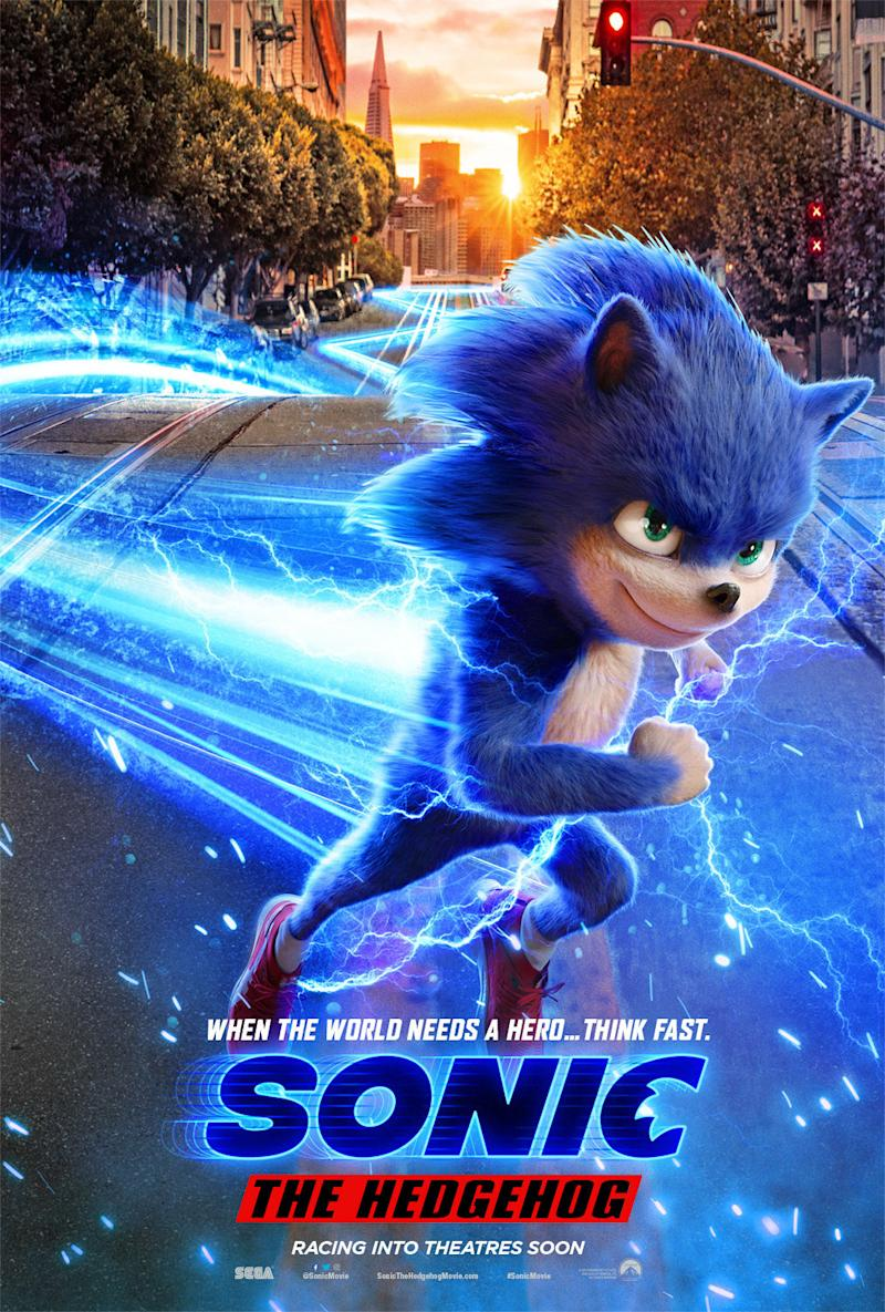 The poster for Sonic's big-screen adventure, though maybe not racing into theatres as soon as they thought (Sony)