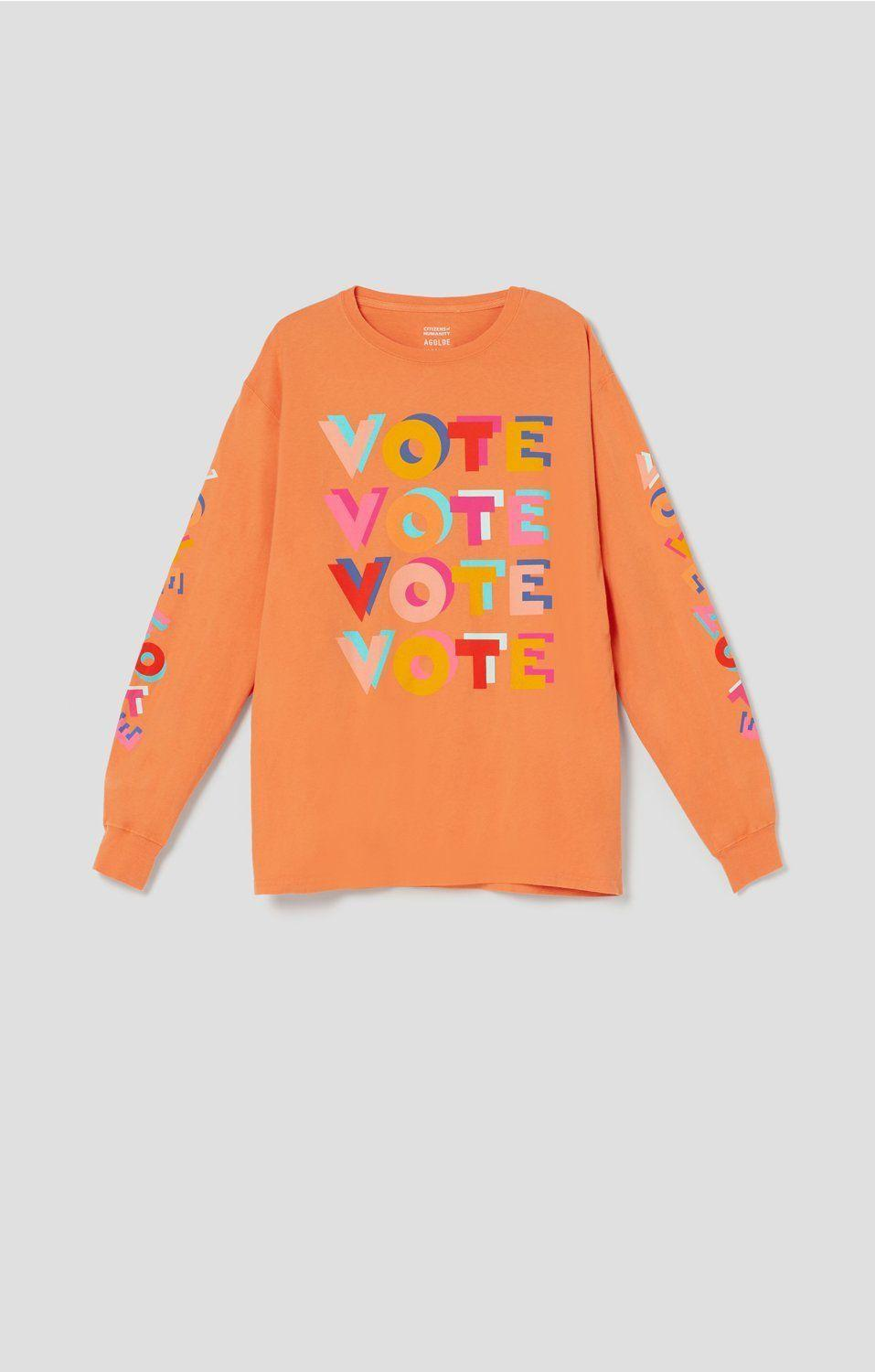 """<p>agolde.com</p><p><strong>$28.00</strong></p><p><a href=""""https://agolde.com/collections/aclu-vote/products/aclu-socal-haas-brothers-long-sleeve-tee-orange-you-glad-you-didnt-vote-him"""" rel=""""nofollow noopener"""" target=""""_blank"""" data-ylk=""""slk:Shop Now"""" class=""""link rapid-noclick-resp"""">Shop Now</a></p>"""