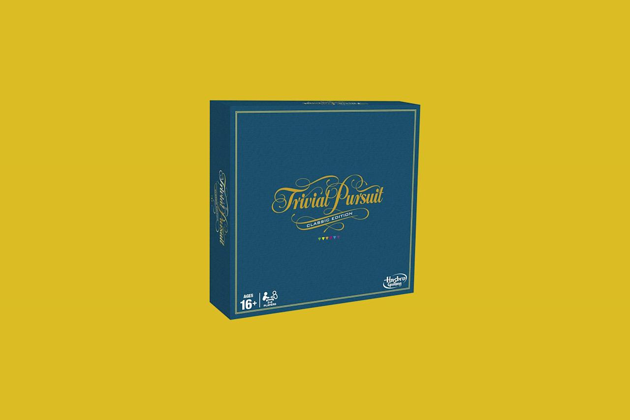 "<p>Here's <a href=""https://www.marthastewart.com/1519820/kevin-sharkey-game-night"">another tried-and-true option</a> for you: Trivial Pursuit. With a myriad of versions to chose from (there are entire games dedicated to <em>Game of Thrones</em>, <em>Harry Potter</em>, and the 2000s), it's easy to pick one that works for you and your family. Each game is designed with a series of trivia questions that each player must answer before they can move around the board. The player with the most trivia knowledge wins.</p> <p><strong><em>Shop Now: </em></strong><em>Hasbro Gaming Trivial Pursuit, The Classic Edition, $15.69, <a href=""http://goto.target.com/c/249354/81938/2092?subId1=MSL%2CFunBoardandCardGamesEveryFamilyShouldOwn%2Crhaars%2CLif%2CGal%2C7691762%2C202003%2CI&u=https%3A%2F%2Fwww.target.com%2Fp%2Ftrivial-pursuit-game-classic-edition%2F-%2FA-52120063"" target=""_blank"" rel=""nofollow"">target.com</a>.</em></p>"