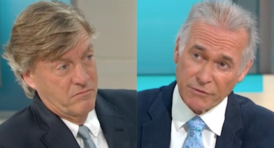 Richard Madeley and Dr Hilary Jones have clashed several times over their oppinions on lockdown restrictions amid the COVID pandemic. (GMB/ITV)