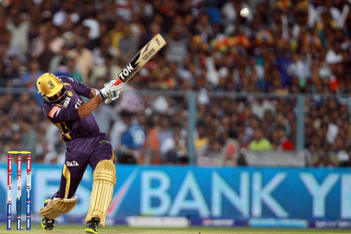 Yusuf Pathan hits the first six of the innings during match 33 of the Pepsi Indian Premier League between The Kolkata Knight Riders and The Mumbai Indians held at Eden Gardens Stadium, Kolkata on the 24th April 2013. Photo by Jacques Rossouw-IPL-SPORTZPICS   ..Use of this image is subject to the terms and conditions as outlined by the BCCI. These terms can be found by following this link:..https://ec.yimg.com/ec?url=http%3a%2f%2fwww.sportzpics.co.za%2fimage%2fI0000SoRagM2cIEc&t=1492957178&sig=3nMZ7bIi3enBoyijjX0qYA--~C