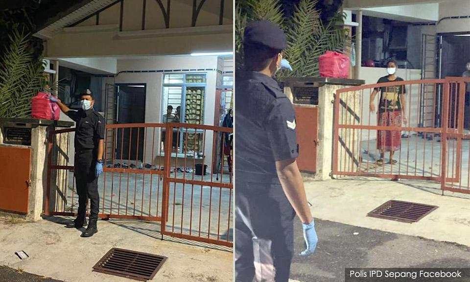 Sepang cops deliver food aid to quarantined glove factory workers