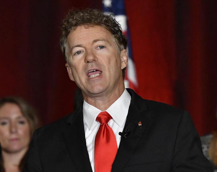 """FILE - In this Nov. 8, 2016, file photo, Sen. Rand Paul, R-Ky. addresses the crowd gathered at his election victory celebration in Louisville Ky. Paul says President-elect Donald Trump """"fully supports"""" repealing President Barack Obama's health law only when there's a viable alternative to replace it. (AP Photo/Timothy D. Easley, File)"""