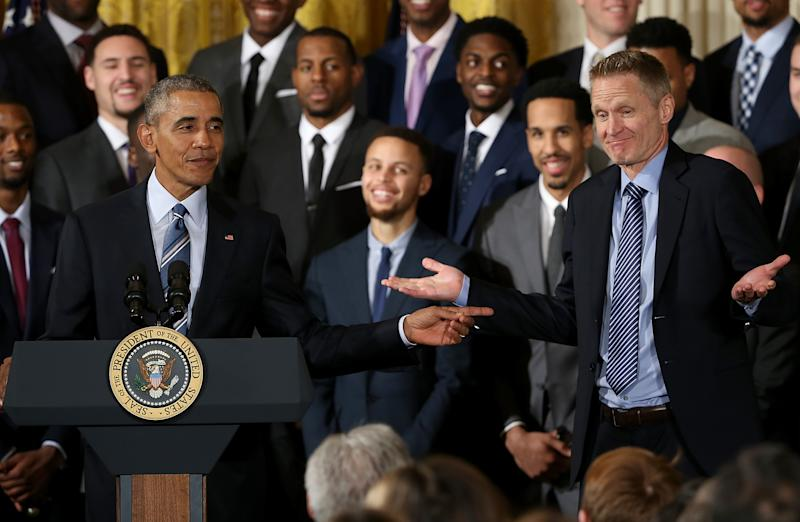 Warriors spend time with Barack Obama before Wizards game