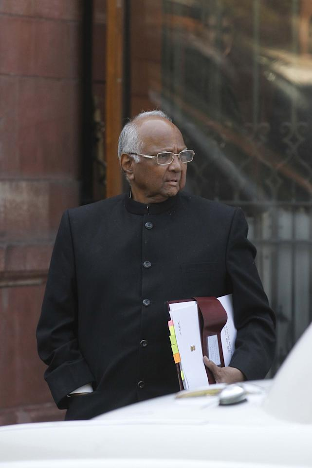 NEW DELHI, INDIA - FEBRUARY 7: Minister of Agriculture Sharad Pawar coming out after Cabinet Meeting at South Block, on February 7, 2013 in New Delhi, India. (Photo by Virendra singh Gosain/Hindustan Times via Getty Images)