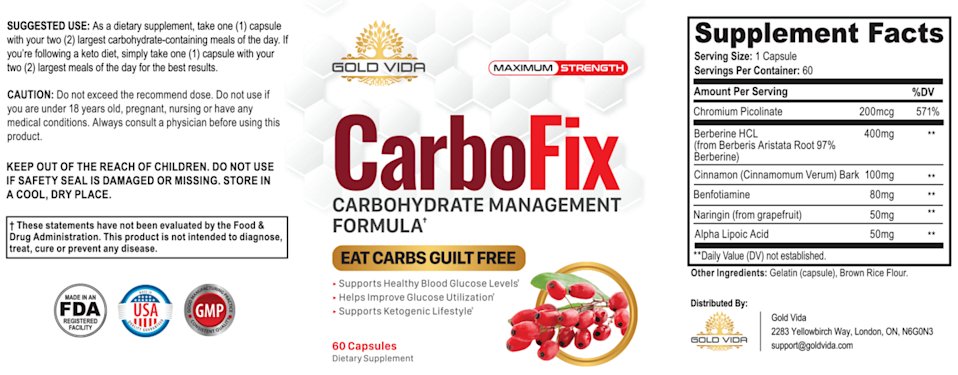 Carbofix Supplement Full Ingredients List & label