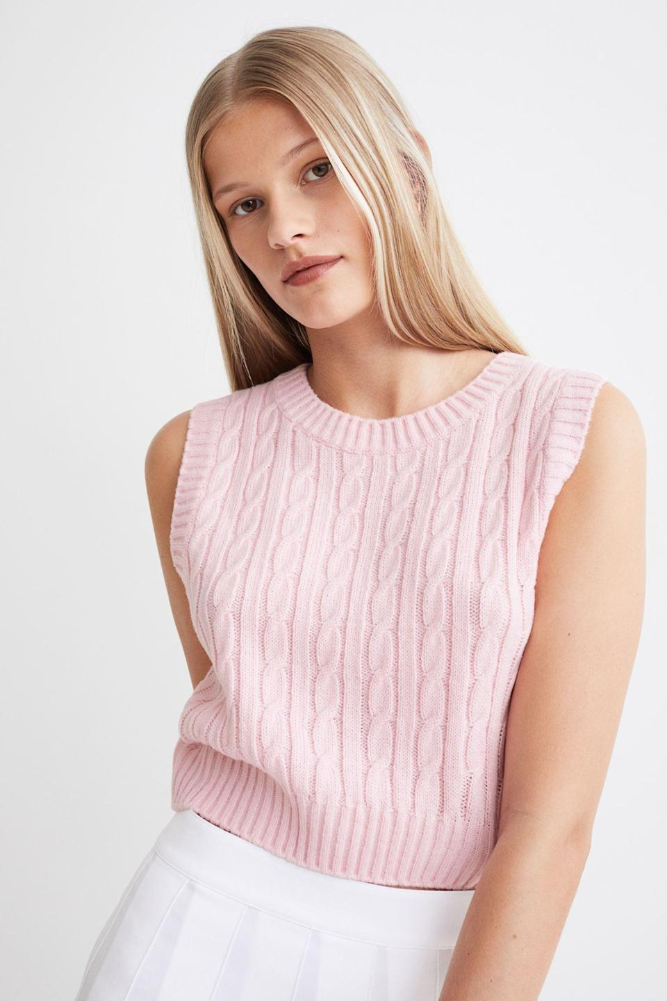 <p>The sweater vest has swelled in popularity recently. We love this light pink <span>H&amp;M Crop Sweater Vest</span> ($16).</p>