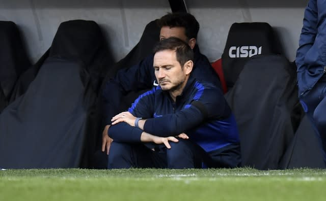 Frank Lampard, pictured, cuts a frustrated figure in Chelsea's 3-0 loss at Sheffield United (Peter Powell/NMC Pool)