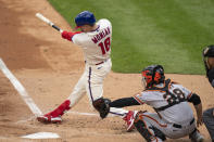 Philadelphia Phillies' Mickey Moniak hits a three-run home run during the second inning of a baseball game against the San Francisco Giants, Wednesday, April 21, 2021, in Philadelphia. (AP Photo/Chris Szagola)