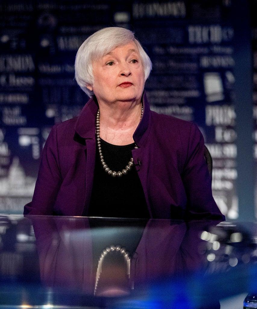 Mandatory Credit: Photo by Andrew Harnik/AP/Shutterstock (10361948y) Former Fed Chair Janet Yellen appears for an interview with FOX Business Network guest anchor Jon Hilsenrath in the Fox Washington bureau, in Washington. The interview will air this Friday at 9:30PM/ET on FOX Business Network's WSJ at Large with Gerry Baker Janet Yellen, Washington, USA – 14 Aug 2019
