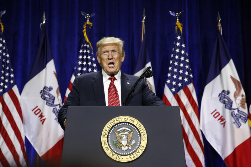 President Donald Trump speaks at the Republican Party of Iowa's annual dinner in West Des Moines, Iowa, Tuesday, June 11, 2019. (AP Photo/Patrick Semansky)