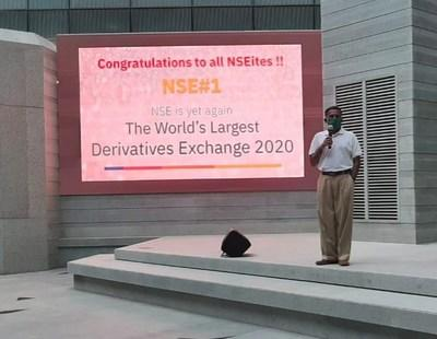 Mr Vikram Limaye, MD & CEO, NSE, at the celebration ceremony to mark the occasion of NSE becoming world's largest derivatives exchange for 2nd consecutive year