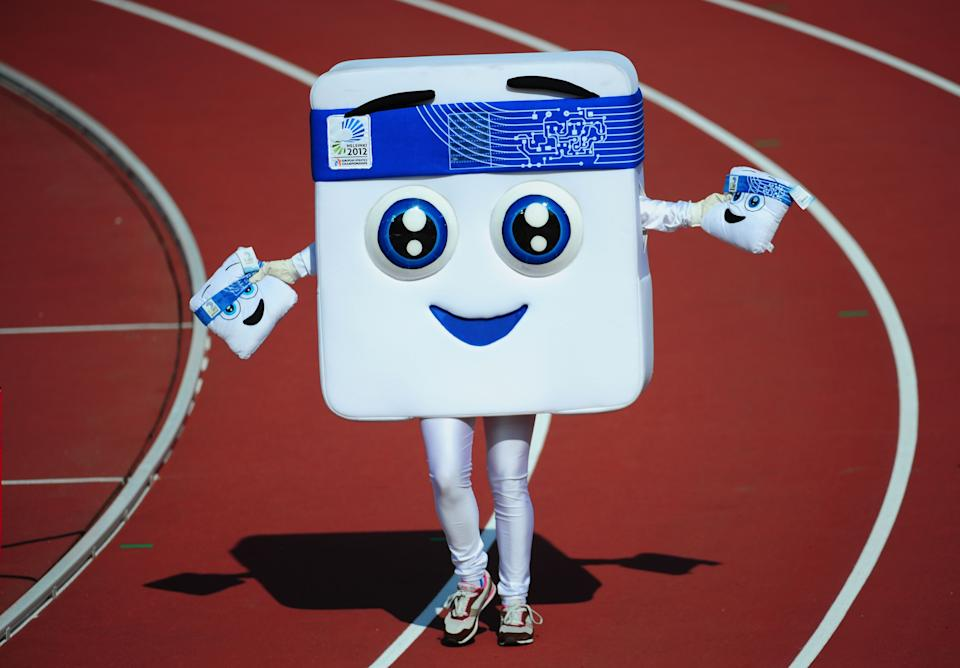This is Appy, the mascot from the 2012 European Athletics Championships in Helsinki. Appy was not actually meant to look like a dishwasher tablet, but it was supposedly a nod to technology and design.