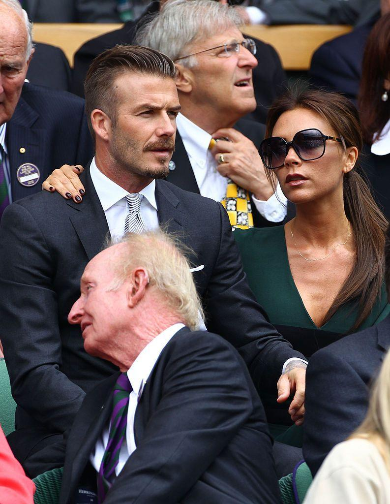 <p>Beckham wore supersized sunglasses to watch the game.</p>