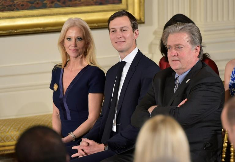 President Donald Trump has moved to reduce tensions between supporters of his  Senior Advisor Jared Kushner (C) and chief strategist Steve Bannon