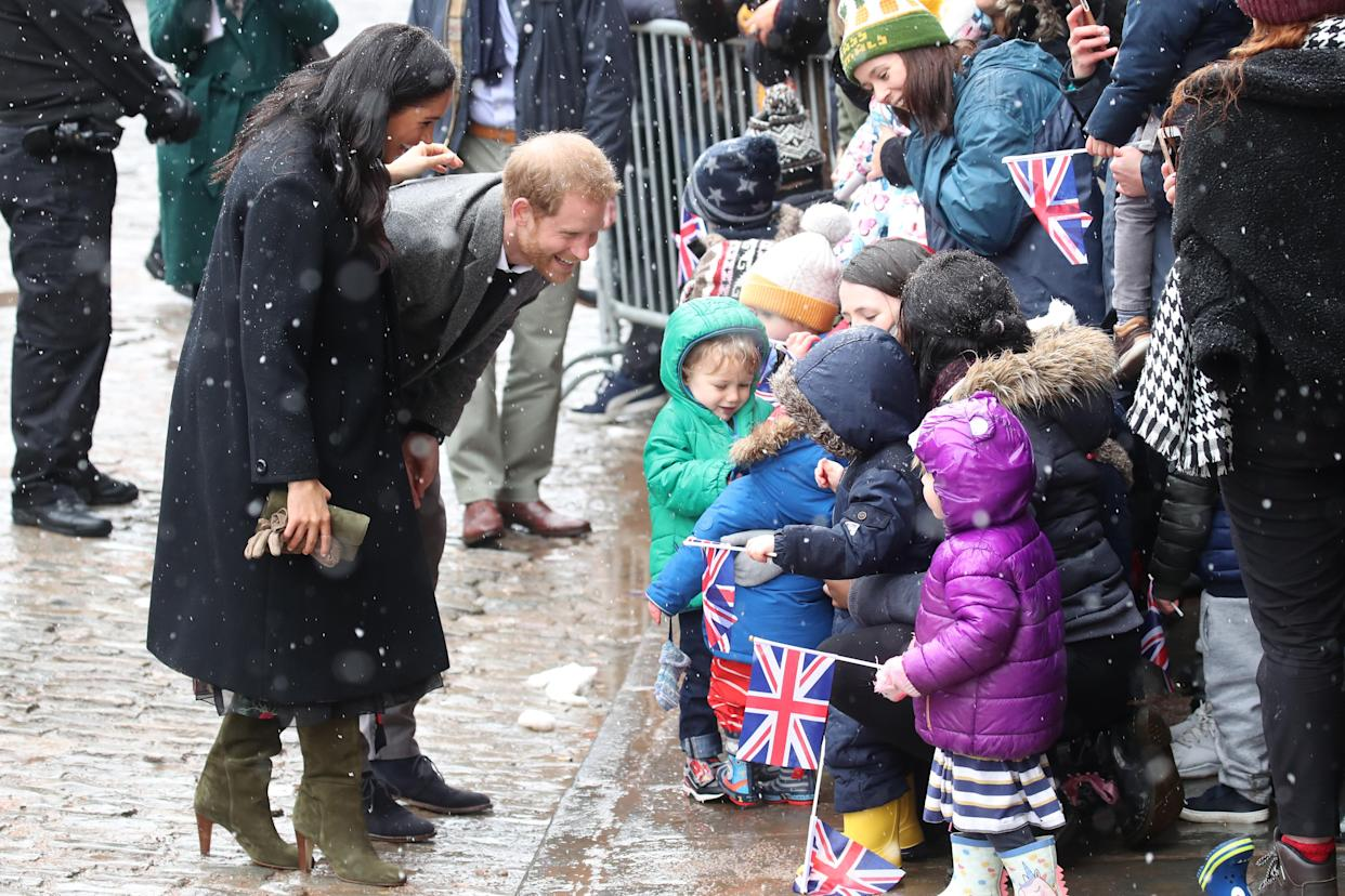 The Duke and Duchess spoke to nursery school pupils in Bristol during a walkabout [Photo: Getty]