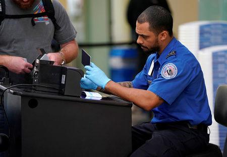 FILE PHOTO: An employee with the Transportation Security Administration (TSA) checks the documents of a traveler at Reagan National Airport in Washington, U.S., January 6, 2019.      REUTERS/Joshua Roberts/File Photo