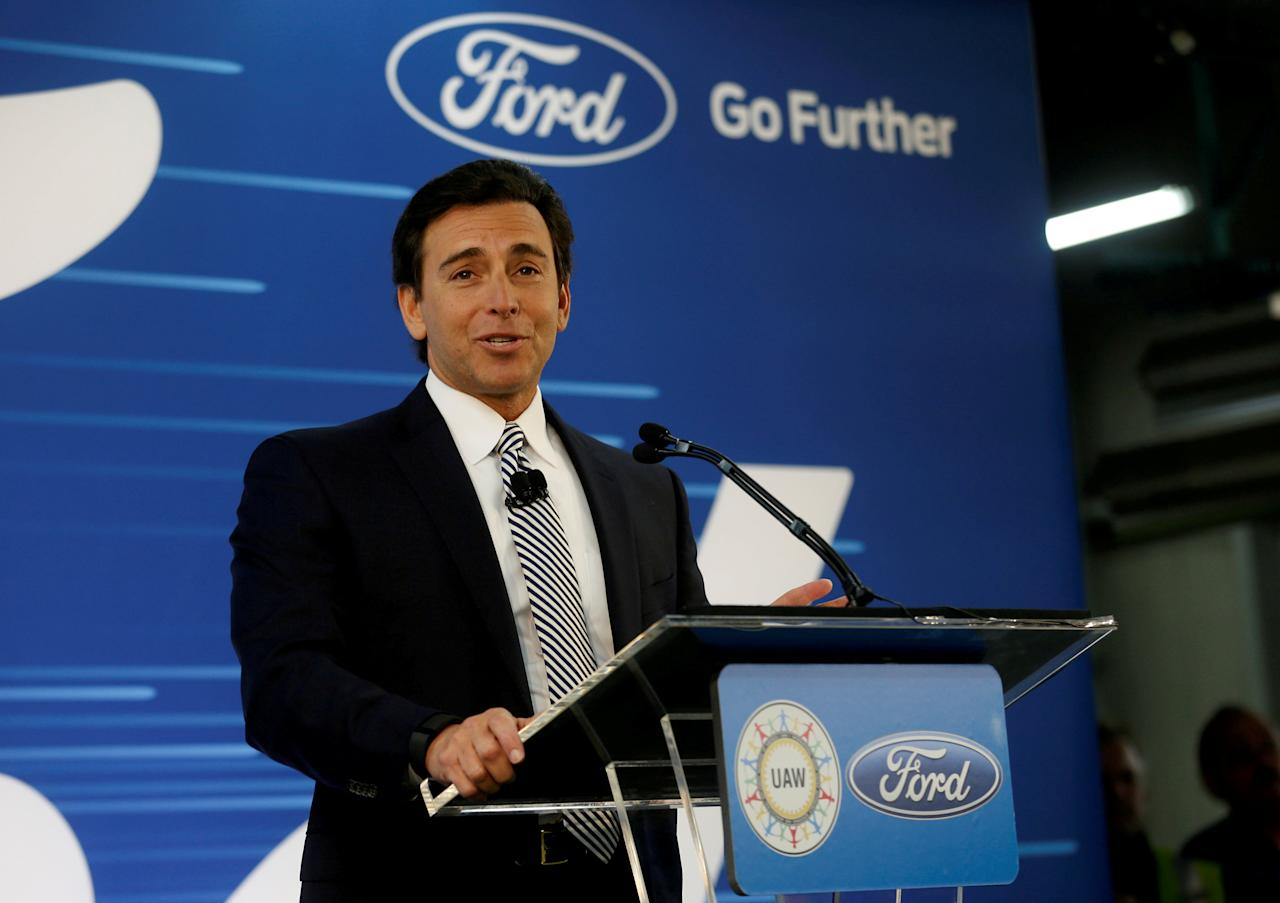 FILE PHOTO: Ford Motor Co. president and CEO Mark Fields makes a major announcement during a news conference at the Flat Rock Assembly Plant in Flat Rock, Michigan, U.S. January 3, 2017. REUTERS/Rebecca Cook/File Photo