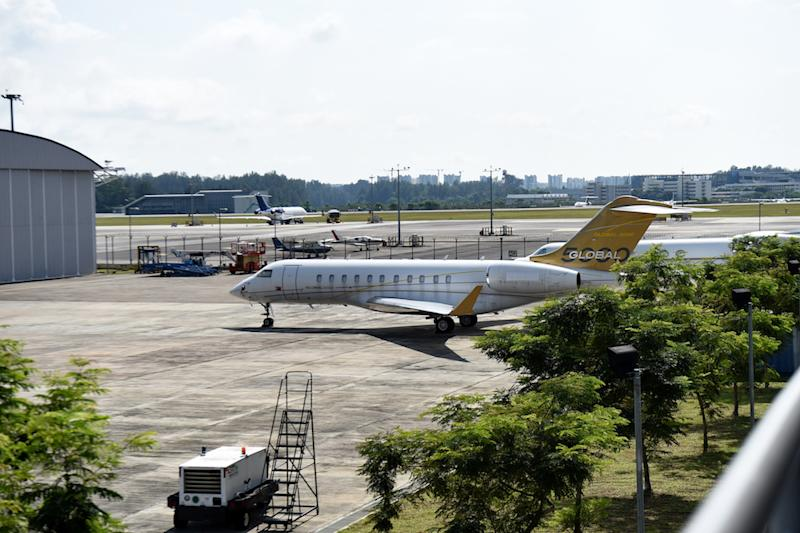 A Bombardier Global 5000 plane without a body number — believed to be owned by Jho Low — is seen parked on the tarmac of Seletar airport in Singapore February 6, 2017. — AFP pic