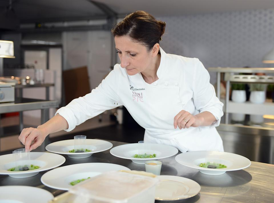 CANNES, FRANCE - MAY 16:  Electrolux partner chef Anne-Sophie Pic attends Chef's Table by Electrolux with Anne-Sophie Pic at Electrolux Agora Pavilion on May 16, 2013 in Cannes, France.  (Photo by Ian Gavan/WireImage for Electrolux)