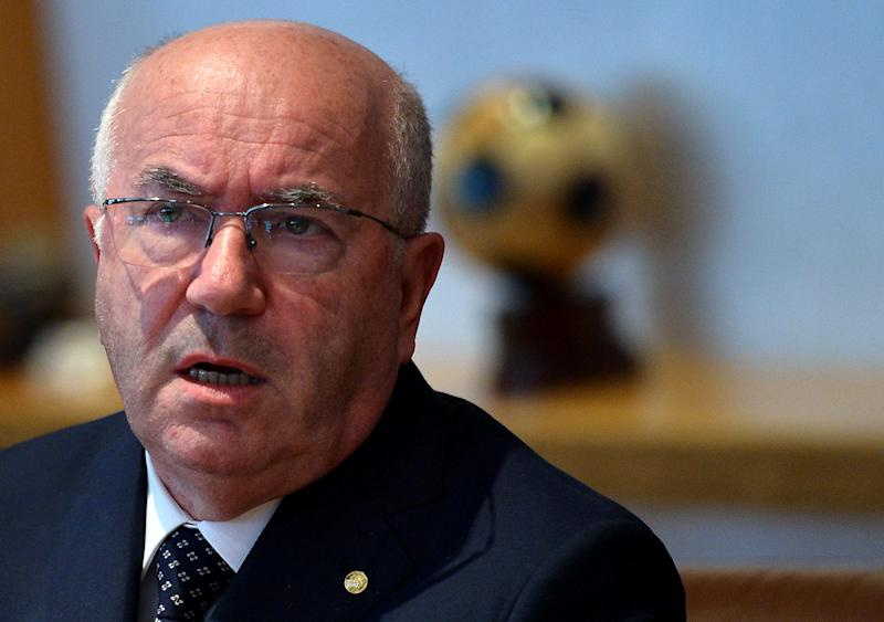 Carlo Tavecchio president of the Italian football federation FIGC  speaks during a press conference in Rome on August 18, 2014