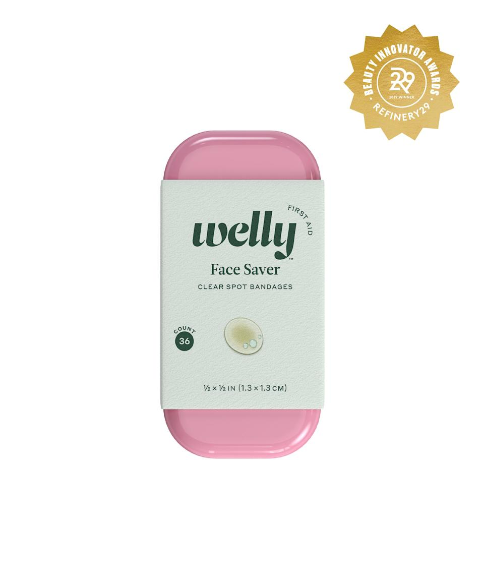 """<h2>Welly Face Saver Clear Spot Bandages</h2> <br>Keep this teeny pink tin full of hydrocolloid patches in your purse for when you need to end a pimple, fast.<br><br><strong>Welly</strong> Face Saver Clear Spot Bandages, $, available at <a href=""""https://www.target.com/p/welly-face-saver-clear-spot-bandages-36ct/-/A-76151990#locklink"""" rel=""""nofollow noopener"""" target=""""_blank"""" data-ylk=""""slk:Target"""" class=""""link rapid-noclick-resp"""">Target</a><br>"""