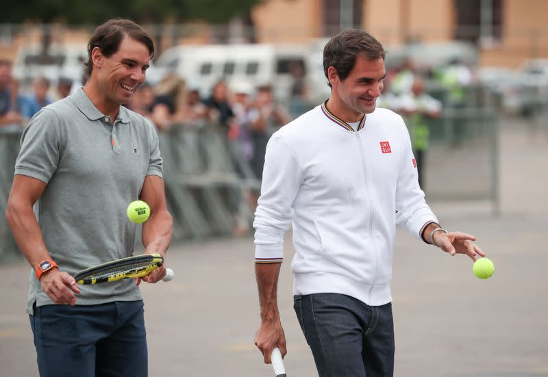 """Roger Federer and Rafael Nadal arrive for a photo session ahead of their """"Match in Africa"""" exhibition tennis match in Cape Town"""