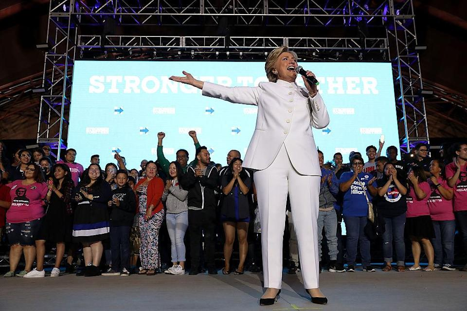 <em>Hillary Clinton wore a white pantsuit to the final presidential debate before the 2016 election. (Getty Images)</em>