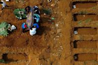 Aerial view of a burial at Sao Paulo's Vila Formosa cemetery during the COVID-19 pandemic