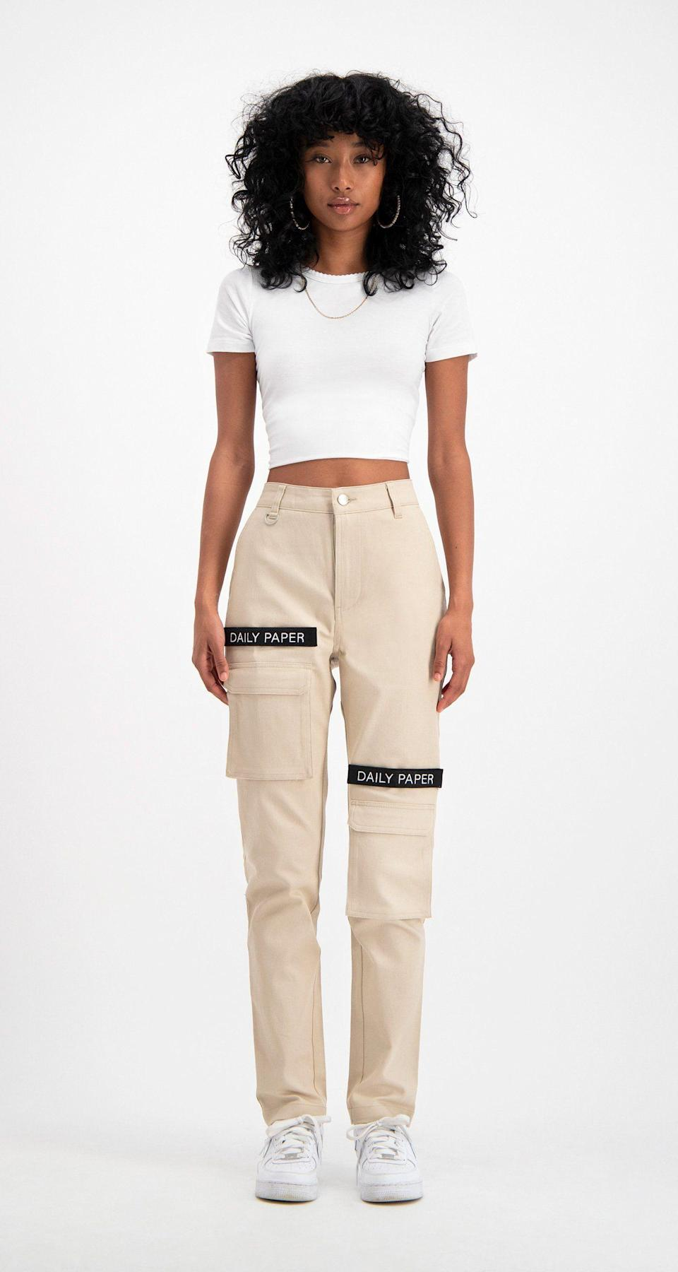 """<p><strong>Daily Paper</strong></p><p>dailypaperclothing.com</p><p><strong>120.00</strong></p><p><a href=""""https://www.dailypaperclothing.com/collections/women-all/products/cargo-pants-beige?variant=1016608948245"""" rel=""""nofollow noopener"""" target=""""_blank"""" data-ylk=""""slk:Shop Now"""" class=""""link rapid-noclick-resp"""">Shop Now</a></p><p>Not ready to make the switch from shorts to jeans just yet? I feel you. Try a pair of cargo pants and pair them with a simple cropped tee while it's still warm enough. </p>"""