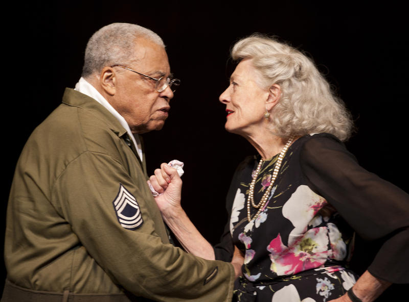 This image released by the Old Vic theatre on Friday Sept. 20, 2013, shows actors James Earl Jones and Vanessa Redgrave in a production of William Shakespeare's 'Much Ado About Nothing', at the Old Vic in London. Vanessa Redgrave, 76, and James Earl Jones, 82, star as the sparring lovers Beatrice and Benedick, two resolute singletons forced to admit their love for each other. Redgrave and Jones are much older than actors who normally play the Bard's bickering duo. (AP Photo/Simon Annand)