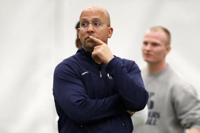 Penn State head football coach James Franklin watches during Penn State Pro Day in State College, Pa., Tuesday, March 20, 2018. (AP Photo/Gene J. Puskar)