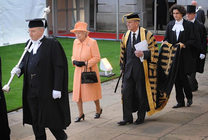Queen Elizabeth II and Prince Philip, Duke of Edinburgh attend a service at King's College, Cambridge (Getty Images)