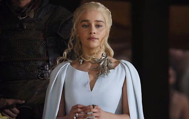 "<p>Clapton worked on a jewelry line inspired by Daenerys. In the show, she often sports elaborate, dragon-themed necklaces. In the Season 5 finale, she's wearing a necklace with a plethora of dragon wings. And then the next time we see her, captured by the Dothraki, the wings are gone. As Clapton explained to <a href=""https://www.usatoday.com/story/life/entertainthis/2016/07/21/you-can-own-and-wear-game-thrones-dragon-power/87377546/"" rel=""nofollow noopener"" target=""_blank"" data-ylk=""slk:USA Today"" class=""link rapid-noclick-resp"">USA Today</a>, ""she has to flee and I wanted the wings [on the necklace] to come off so she'd be left with less of a dragon.""<br><br>(Photo Credit: HBO) </p>"