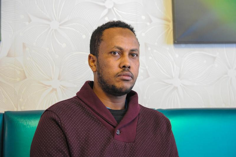 Farhan Ahmed, a 36-year-old refugee claimant, pictured in a Winnipeg hotel on February 9, 2017 after arriving with a group of other migrants over the US-Canada border to seek asylum in Canada