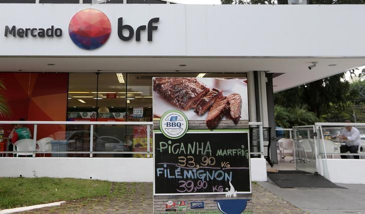 A Brazilian meatpacking company BRF SA marketplace is seen in Sao Paulo