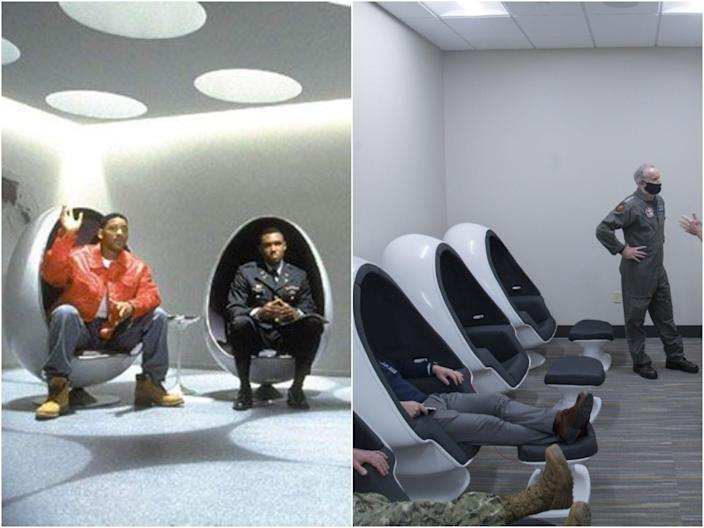 Twitter users noted the resemblance between the chairs in Men in Black from 1997 and images for a navy training centre in 2021. (Columbia Pictures/U.S. Special Operations Command)