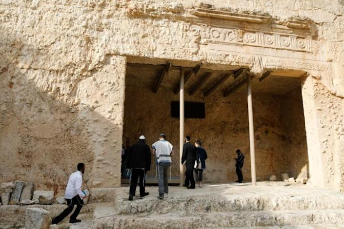Ultra-Orthodox Jews describe the Tomb of the Kings as a holy burial site of ancient ancestors (AFP Photo/MENAHEM KAHANA)