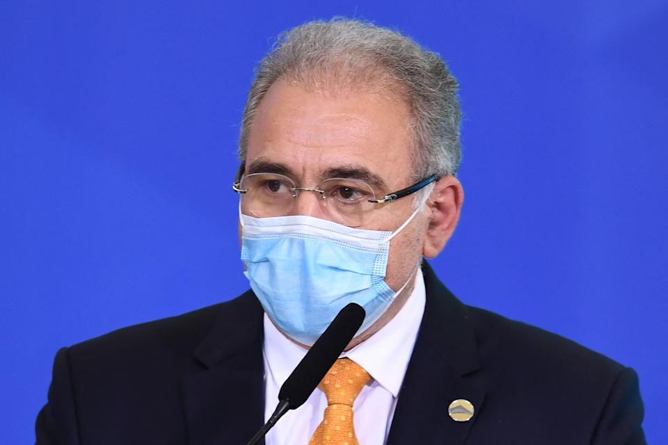Brazilian Health Minister Marcelo Queiroga speaks during the Funds Release Ceremony for Primary Health Care in Facing Covid-19 at Planalto Palace in Brasilia, on May 11, 2021. (Photo by EVARISTO SA / AFP) (Photo by EVARISTO SA/AFP via Getty Images)