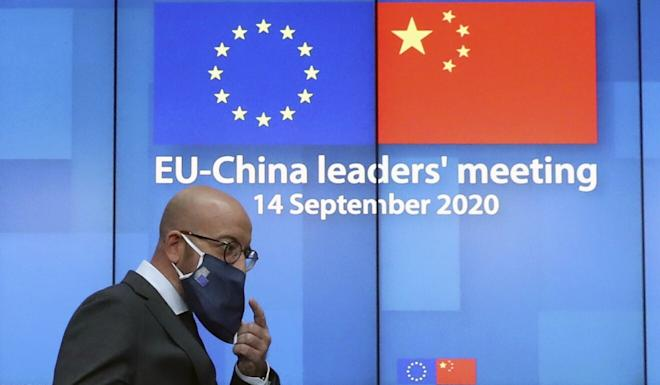 European Council President Charles Michel arrives for a digital press conference after the EU-China summit. Photo: AP