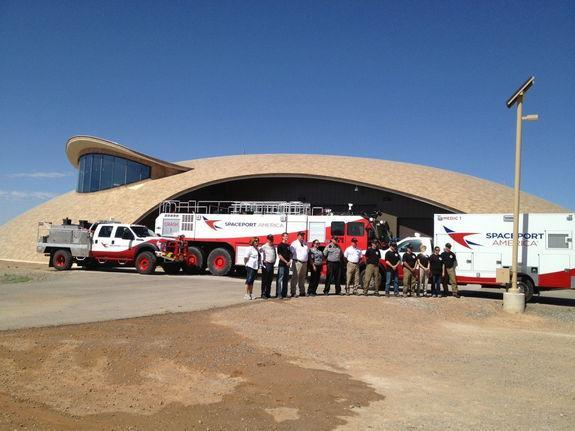 The Spaceport Operations Center comes complete with fire and emergency crews and needed vehicles, properly adorned with the Spaceport America logo.